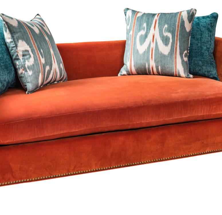 Shown in: JAB Velluto; Pillows: Carlucci Velvet & Penny Morrison Linen Custom: nailheads and feet